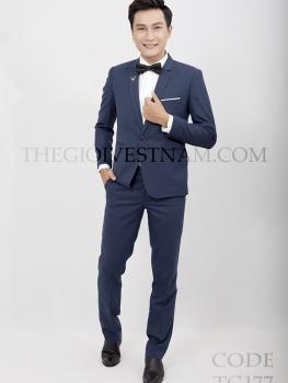 Vest xanh jeans nhạt 1 nút TG177