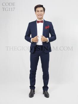 Vest caro xanh navy dày TG117